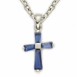 Sterling Silver September Sapphire Birthstone Baby Cross Necklaces