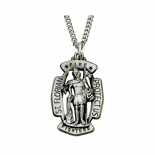 Sterling Silver St. Florian Shield Medal, Patron of Fire Fighters