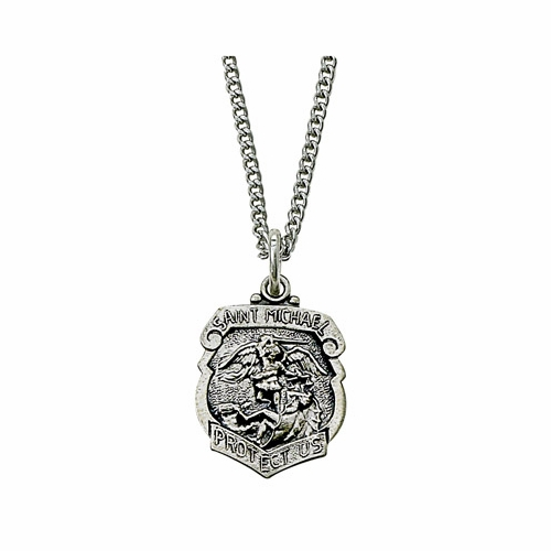 Sterling Silver St. Michael Shield Medal, Patron of Police Officers