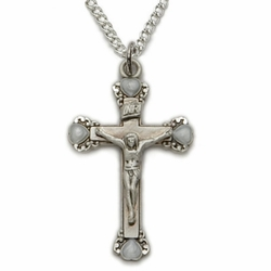 Sterling Silver with White Enamled Heart Ends Crucifix