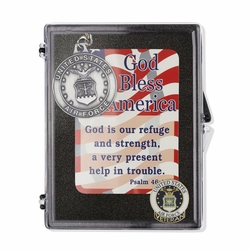 """United States Air Force Veteran """"God Bless America"""" Appreciation Boxed Gift Set-Includes Verse Card, Keychain, and Lapel Pin"""