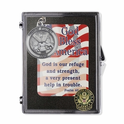 """United States Army Veteran """"God Bless America"""" Appreciation Boxed Gift Set-Includes Verse Card, Keychain, and Lapel Pin"""