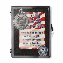 """United States Coast Guard Veteran """"God Bless America"""" Appreciation Boxed Gift Set-Includes Verse Card, Keychain, and Lapel Pin"""