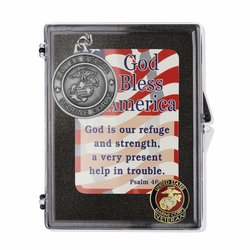 """United States Marine Corps Veteran """"God Bless America"""" Appreciation Boxed Gift Set-Includes Verse Card, Keychain, and Lapel Pin"""