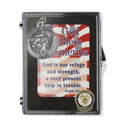 """United States Navy Veteran """"God Bless America"""" Appreciation Boxed Gift Set-Includes Verse Card, Keychain, and Lapel Pin"""
