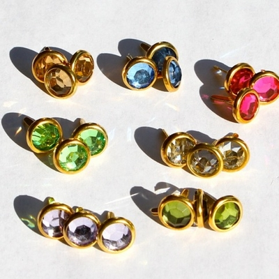 10MM Jewel Brads - Gold Edge - Choose Color
