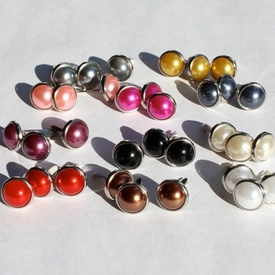 10MM Pearl Brads - Silver Edge - Choose Color