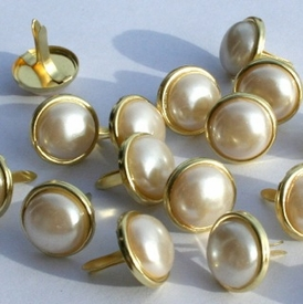 12MM Pearl Brads - White/Gold - out of stock