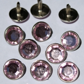 12mm Pink Jewel Brads