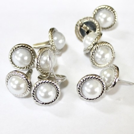 12mm Rope Pearl Brads - White