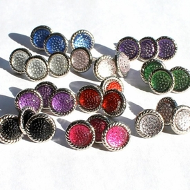 12MM Stippled Brads - Silver Edge - Choose Color
