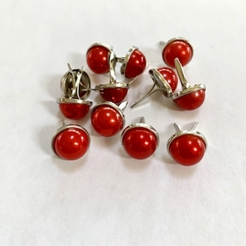13mm Pearl Brads - Red