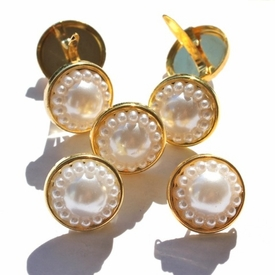 14MM Pearl Brads - White/Gold