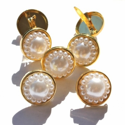 14MM Pearl Brads - Antiqued White/Gold Mix