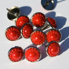 14mm Pearl Brads - Red - out of stock