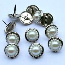 14mm Pearl Brads - White/Silver - out of stock