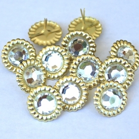 15mm Scalloped Brads- Clear