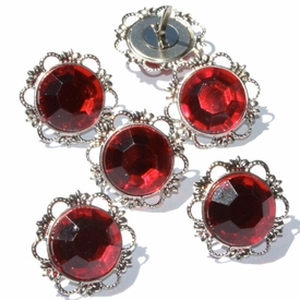 21mm Jewel Brads - Red