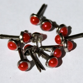 5mm Pearl Brads - Red