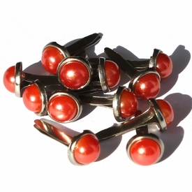6.5mm Pearl Brads - Orange
