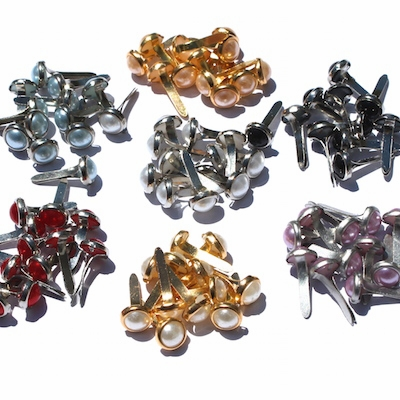 6mm Pearl Brads - Choose Color