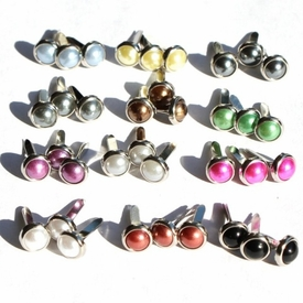 6MM Pearl Brads - Silver Edge - Choose Color