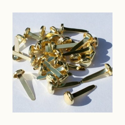 8mm Long Prong Gold Brads