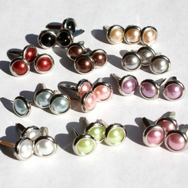 8MM Pearl Brads Silver Edge - Choose Color