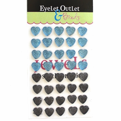 Bumpy Bling Hearts - 12mm Blue/Gray