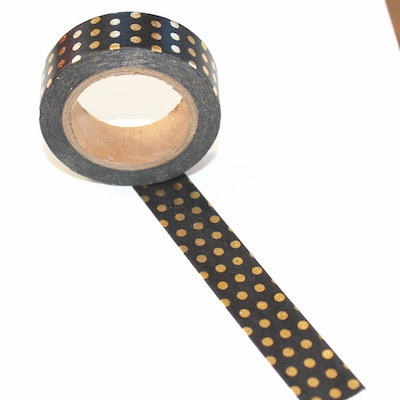 Foil Washi Tape - Black/Gold Dots
