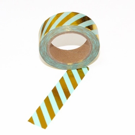 Foil Washi Tape - Green Gold Stripe