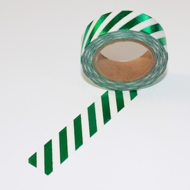 Foil Washi Tape - Green Stripe