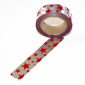 Foil Washi Tape - Silver/Red Stars - out of stock