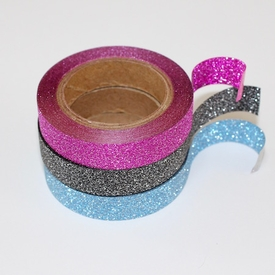 Glitter Skinny Washi Tape - Pink, Black, Blue