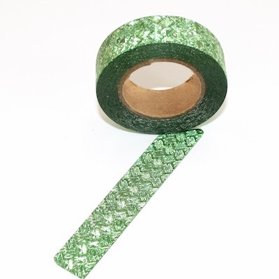 Glitter Washi Tape - Green Pattern