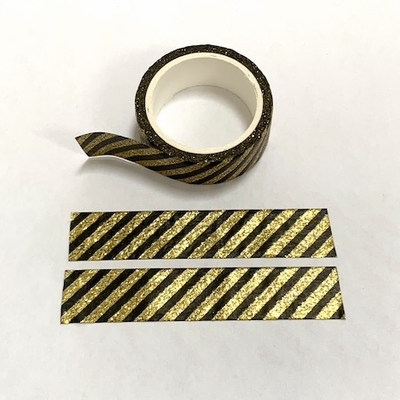 Gold/Black Stripe Glitter Washi Tape