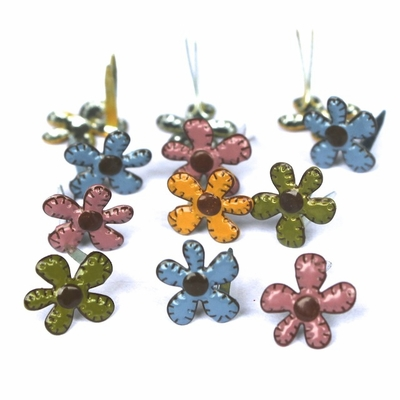 Mini Stitched Flower Brads - Fall