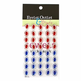 Oval Jewels - Red/Blue
