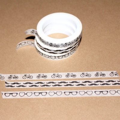 Skinny Washi Tape - Bike/Glasses/Mustache