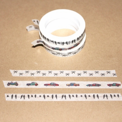 Skinny Washi Tape - Bow/Bird/Cars