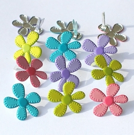 Stitched Flower Brads - Bright
