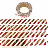 * Stripe - Red/Gold Foil Washi Tape
