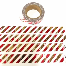 Stripe - Red/Gold Foil Washi Tape