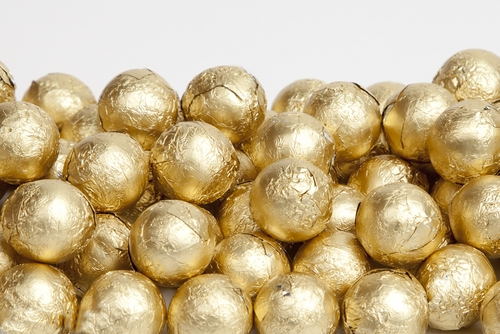 Gold Foiled Milk Chocolate Balls (1 Pound Bag)