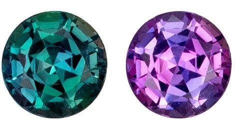 Gorgeous Stone in 0.35 carats Alexandrite Genuine Gemstone in Round Cut, Medium Teal to Vivid Eggplant, 4.2 mm
