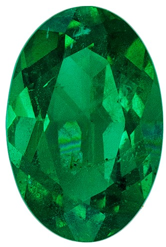 Loose Natural Green Emerald Genuine Gemstone, 0.37 carats, Oval Cut, 6 x 4  mm , Gemmy Low Cost Stone