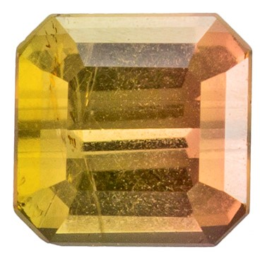 0.38 carats Bicolor Tourmaline Loose Gemstone in Emerald Cut, Peach & Yellowish Green, 4 x 4 mm