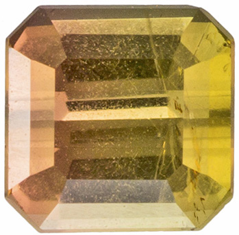 0.38 carats Bicolor Tourmaline Loose Gemstone Emerald Cut, Peach & Yellowish Green, 4 x 4 mm