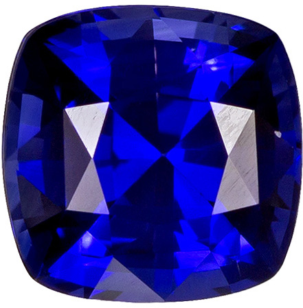 0.38 carats Blue Sapphire Loose Gemstone in Cushion Cut, Intense Blue, 4.0 mm