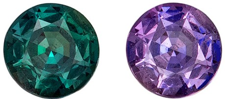Faceted Super Color Change Alexandrite Loose Gemstone 0.39 carats, Round Cut, 4.40 mm